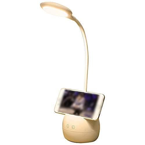 Lámpara de escritorio con titular de la pluma, lámpara de escritorio de luz nocturna LED de 5 colores, recargable con cuidado de ojos 360 ° Lámparas de cama con cabina de cisne flexibles para dormitor