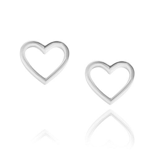 LillyMarie Damen Ohrringe Stecker Sterling-Silber 925 Herz Offen Satin-Beutel Geschenk für Frauen
