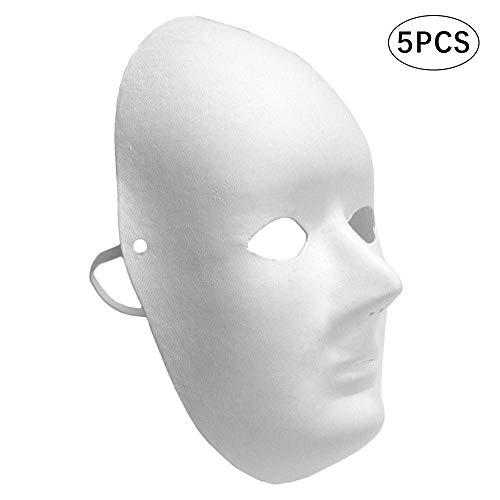 Wankd 5 Stück Weiße Maske Unbemalt, DIY Masken Maskenball Party Maske Anonymous Masken zum Bemalen Kinder für Halloween Karneval Cosplay Handgemalte Design Maske(Frau, 17 * 22CM)