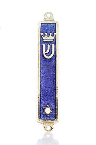 "Gold plated Mezuzah Mezuza Blue Case 7cm-2.7"" Judaica Jewish Shaddi Candle Israel by body-soul-n-spirit"
