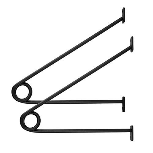 Natural Goods Berlin 2X Garderobenhalter Gard Prenzlberg | pulverbeschichtet o. geölt | Kleiderstangenhalterung für Wand | 8mm Materialstärke | Für 30mm Rundstäbe | DIY (Schwarz, Gard Prenzlberg)