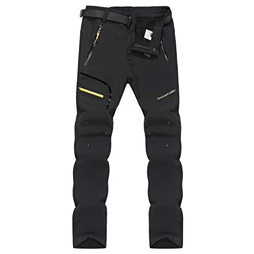 LY4U Hombres Senderismo Forrado con Forro Polar Suave Pantalones Al Aire Libre...