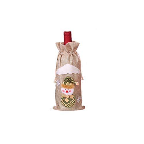 Yue668 - Bolsa de botella de vino, conjunto de botella de vino, muñecos viejos, decoración de Navidad de lino envejecido para hombre o muñeca botella de vino