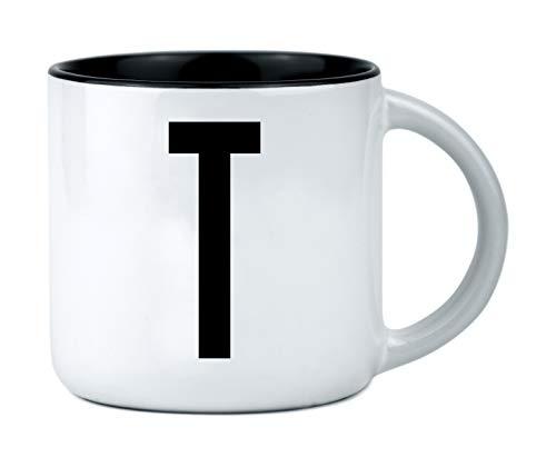 ANYMAX® Tasse mit Buchstaben | mit Aufdruck: T | Design Typografie Becher - Keramiktasse weiß mit schwarzem Innenteil & Letter - persönliche Geschenkidee