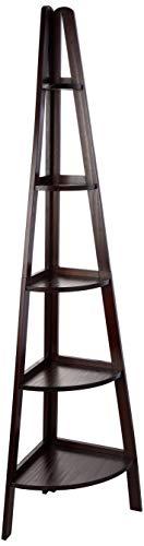 Casual Home Bookshelf 5-Shelf Corner Ladder Bookcase, Espresso