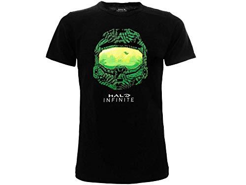 Fashion UK Original Halo T-Shirt, offizielles Infinite T-Shirt, Schwarz, Videogam, Erwachsene, Jungen und Kinder, Casual, Schwarz Large