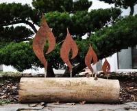 Edelrost Flamme für Baumstamm Kerzen Weihnachtsdeko (1) Höhe 16cm
