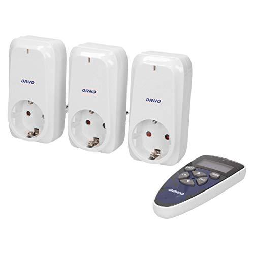 ORNO GB-434(GS) Funksteckdosenset mit Fernbedienung und Timer 3er Set 4 Kanal für Licht, Haushaltsgeräte,Farbe: Weiß, Typ: Schuko