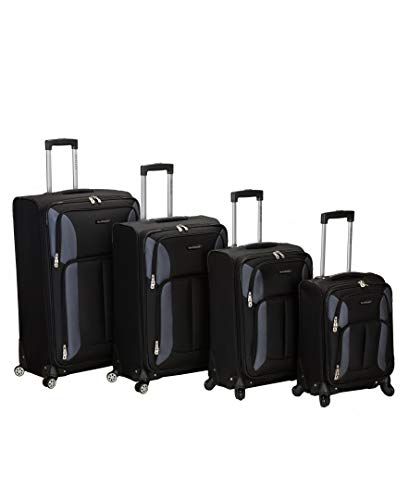 Rockland Impact Softisde Spinner Wheel Luggage Set, Black