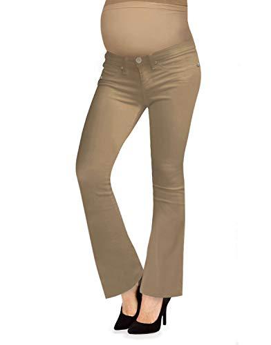 Hybrid & Company Femme Super Confortable Jean Extensible Bootcut de maternité Petit Taupe
