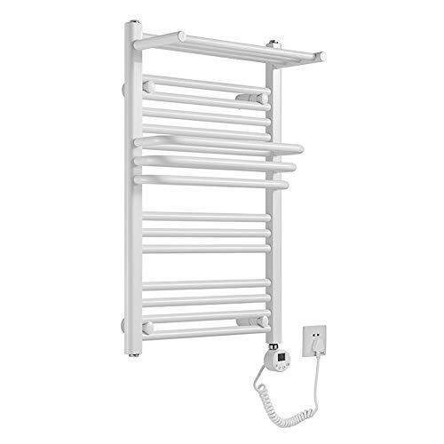 MTX-Racks handdoekverwarmer hang- badkamer radiator, elektrische badkamerradiator, 650 x 400 mm - moderne centrale verwarming ruimtebesparende radiator, wit modern design