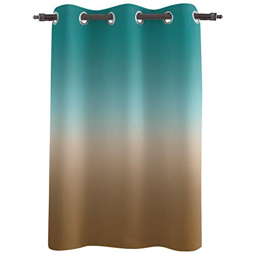 Amaze-Home Darkening Blackout Window Curtains Drapes 84' Length Ombre Teal Brown Turquoise Thermal Insulated Grommet Blocking Curtains Treatment for Kids Bedroom/Living Room 52' Wide