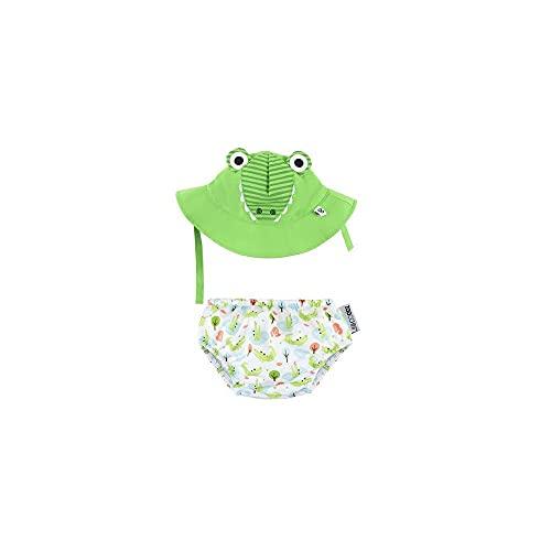 Zoocchini - Set Baby Costumino Contenitivo e Cappellino, Multicolore (Alligatore), M (6-12 Mesi)