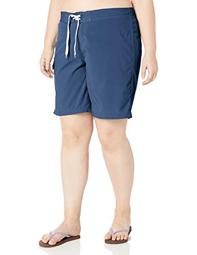 Kanu Surf Women's Plus Size Marina Solid Stretch Boardshort, Navy, 2X