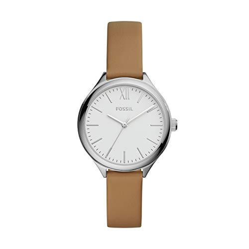 Fossil Women's Suitor Quartz Metal and Leather Dress Watch, Color: Silver, Brown (Model: BQ8004)