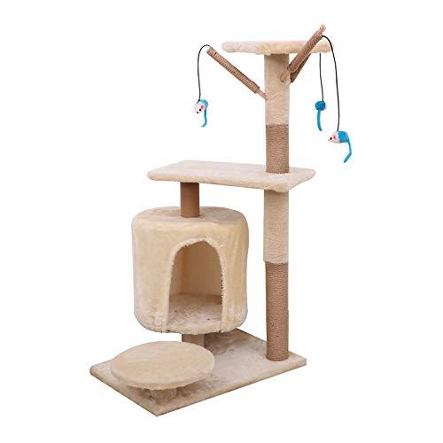 Famgizmo Árbol para Gatos con Rascador de Sisal, 90cm Torre para Gatos con Nido, Multi Nivel Centro de Actividad para Gatitos con Juguetes Colgantes, Muebles para Gatos, Torre de Escalada, Beige