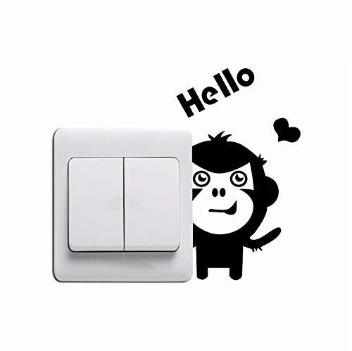 Zemn Autocollant Cute Hello Singe Switch Sticker Creative Cartoon Animal Vinyle Sticker Mural Décor À La Maison 2 Pièces