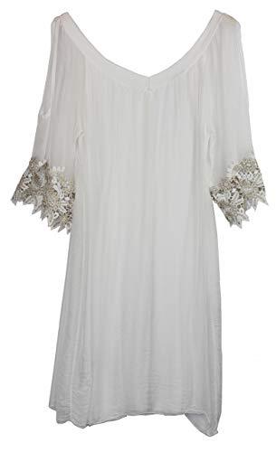 BZNA Ibiza Empire zomerjurk wit haakdetails zijden jurk bozana zomer herfst zijdejurk dames jurk elegant