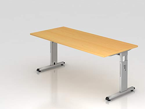Schreibtisch C Fuß 180x80cm Buche Silber Bürotisch EDV Tisch