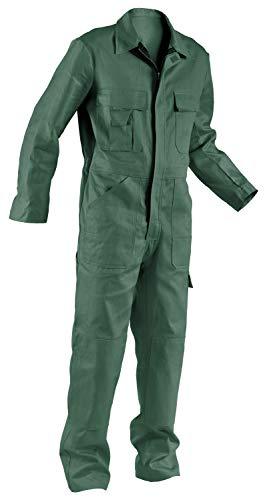 KÜBLER QUALITY DRESS Arbeitsoverall grün, Größe 60, Herren-Arbeitsoverall aus Baumwolle, Arbeitsoverall mit Knieschutztaschen nach EN 14404, bequeme Arbeitsoverall von KÜBLER Workwear
