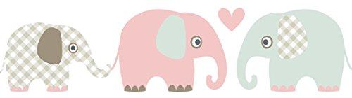 lovely label Bordüre selbstklebend Elefanten Taupe/Mint/Nude - Wandbordüre Kinderzimmer/Babyzimmer mit Elefanten - Wandtattoo Schlafzimmer Mädchen & Junge – Wanddeko Baby/Kinder