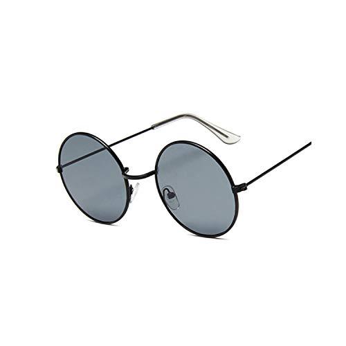 Gafas Deportivas, Pesca Gafas De Golf, NEW Retro Round Pink Sunglasses Women Brand Designer Sun Glasses For Women Alloy Mirror Female Oculos De Sol Black BlackGray