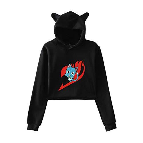 MLX-BUMU Fairy Tail Anime Sudaderas con Capucha Cosplay Traje Chaqueta Mujer Gato Oreja con Capucha Top,XXL