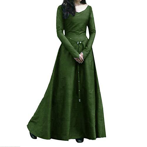 ZEFOTIM - Vestido medieval, para mujer, talla grande, estilo vintage, estilo renacentista, manga larga, vestido de fiesta largo - verde - 5X-Large