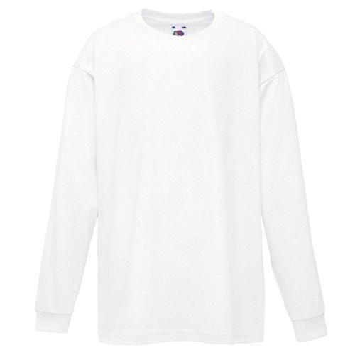 Fruit of the Loom - Camiseta de manga larga para niños, color blanco, para 3 a 4 años