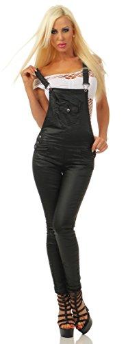 Fashion4Young Fashion4Young 4170 Damen Latzhose Träger Röhrenhose Treggings Lederimitat Wet Look Jeans Slim-Fit (schwarz, S-36)