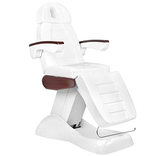 Activeshop Lux 273B Kosmetikliege Massageliege Massagetisch Massagestuhl Weiss/Mahagoni bis 200 kg belastbar Premium-PU-Leder mit 3 motoren vollelektrisch 200 x 62 x (67-89) cm (L x W x H)