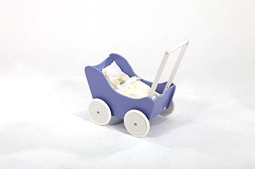 Puppenwagen Lauflernwagen lila mit Bremse und Bettwäsche aus lackiertem Holz