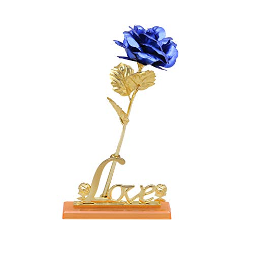 Yosemite - Rosas artificiales de 24 quilates para mujer, diseño romántico, de alta simulación, para el día de San Valentín, para los amantes - Azul