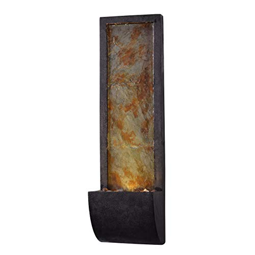 Kenroy Home Rustic Indoor/Outdoor Wall Fountain ,37 Inch Height, 10 Inch Width, 8.5 Inch Ext. with Black Finish and Slate