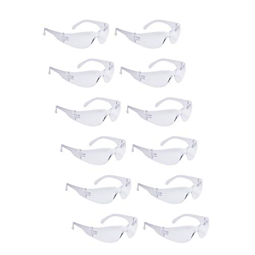 ROAR Clear Safety Glasses 12 pairs per box Eyewear Protective Glasses Safety Goggle Airsoft Goggle, Strong Impact Resistant Lens for Laboratory, Construction,gardening, Industrial Safety, Craft