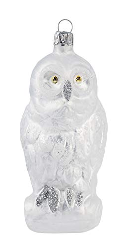 Thüringer Glasdesign Schnee-Eule 11cm - Silber - A061-2523-091 - Glasschmuck Weihnachtsbaum Christbaumschmuck Anhänger Behang