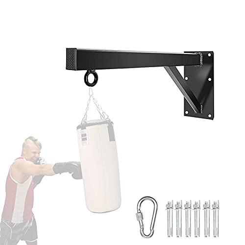 APJJ Boxsack Halterung, Boxsack Wandhalterung für 200 kg Sandsäcke, Boxsack Ständer 6-Loch-Verstärkungsinstallation, 4 * 6cm Dickes Vierkantrohr, mit 6 Expansionsschrauben und 1 Haken