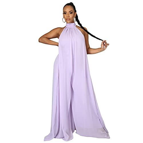 Women's Loose Chiffon Halter Neck Backless Jumpsuits Sexy Sleeveless Wide Leg Jumpsuit Elegant Plus Size Suspender Rompers, Purple, Medium