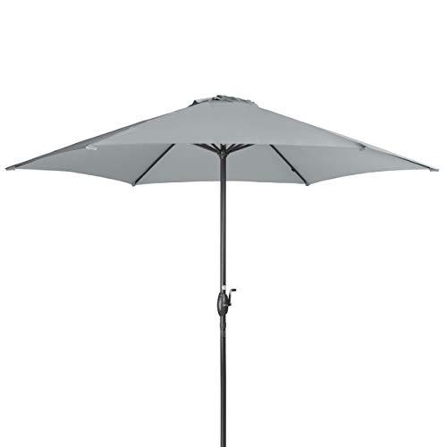 Doppler Derby Basic Lift NEO 300 cm - Großer, runder Sonnenschirm für den Garten - Mit Kurbel - Regenabweisend - ca. 300 cm - Hellgrau