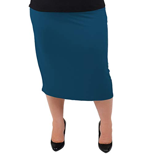 Stretch is Comfort Women's Plus Size Comfortable Soft Stretch MIDI Skirt Teal X-Large