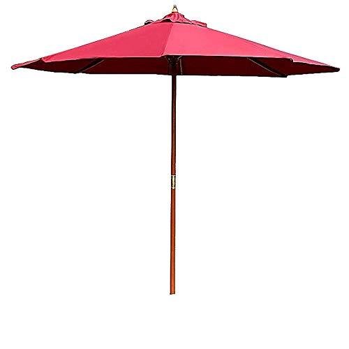 Zixin 3m Jardín Patio Paraguas (Individual Superior/Doble Superior) Impermeable Sombra Paraguas Dos Modelos for la Playa/Piscina/Patio/balcón/Patio (Color : Red, Size : Wooden Shade)