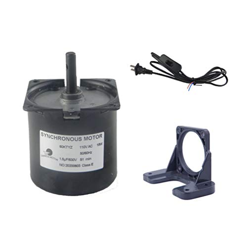 Permanent Magnet Synchronous Gear Motor 60KTYZ 110V 1.5RPM Torque 90Kgf.cm CW/CCW With Fixed Bracket and switch Plug Extension