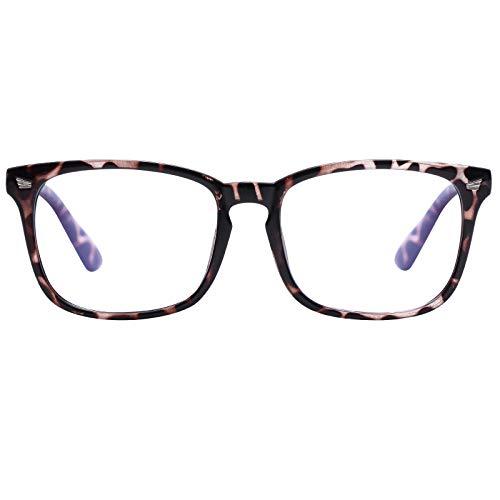 Reading Glasses Blue Light Blocking for Women Men- Square Nerd Eyeglasses Anti Blue Ray Blue Light Blocking Reading Glasses (Leopard, 1)
