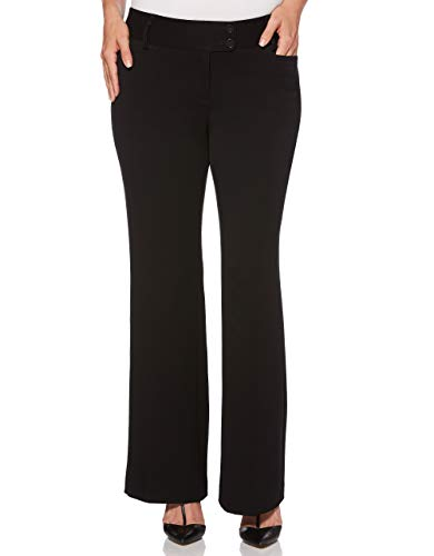 Rafaella Women's Curvy Fit Gabardine Boot Leg Trouser, Black, 4