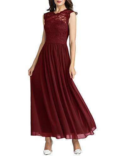 MuaDress 6056 Damen Retro Floral Lace Brautjungfernkleider Rüschen Hochzeit Maxi Kleid Dunkelnrot XS