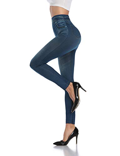 SHAPERIN Damen Jeansoptik Leggings Hohe Taillen Leggings mit Bund Mode Shaping Leggins Dehnbar Formende Treggings Streetwear Hosen Strumpfhosen Blau Schwarz Grau(Blau,L-XL)
