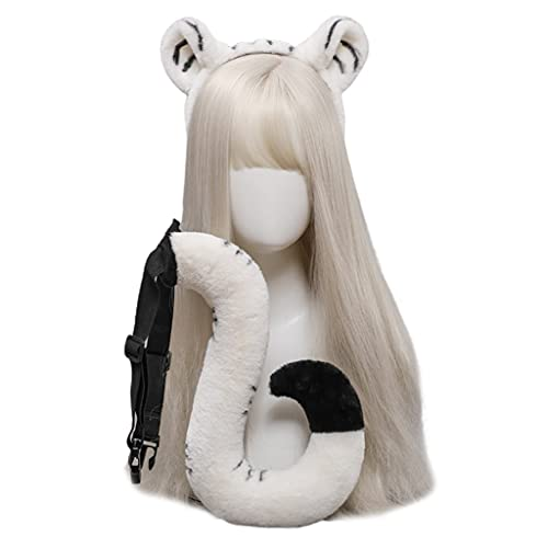 DAISHIAO Kit de diadema de orejas de tigre suave para el pelo de animales de peluche para lavar la cara mullida Cosplay de dibujos animados tema fiesta traje