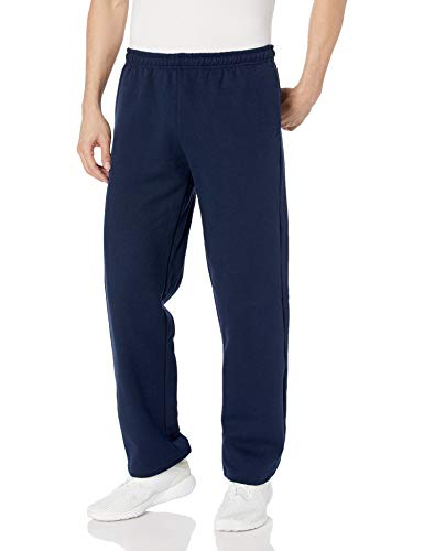 Gildan Men's Fleece Open Bottom Pocketed Pant, Navy, Large