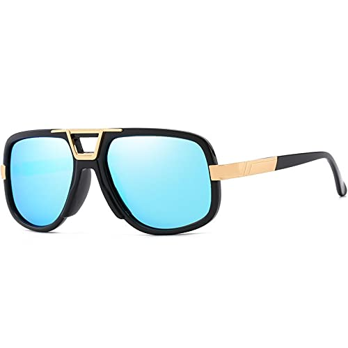 AMFG Gafas de sol polarizadas Hombres y mujeres Metal Trend Street Retro Gafas de sol (Color : B)