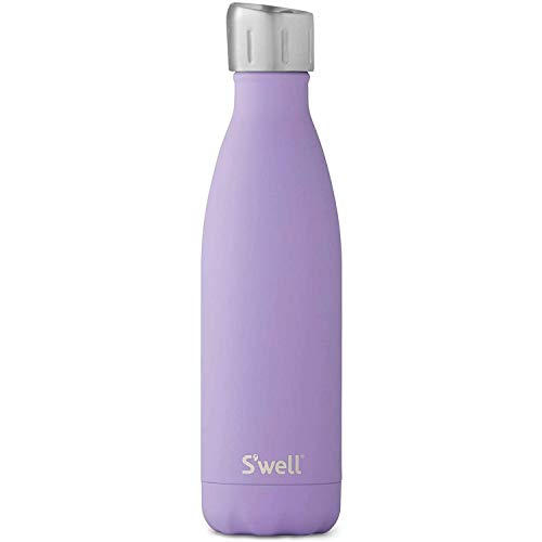 S'well Stainless Steel Water Bottle - Triple-Layered Vacuum-Insulated Containers Keeps Drinks Cold for 41 Hours and Hot for 18 - with No Condensation - BPA Free, 17 Fl Oz, Soft Touch Purple Heat